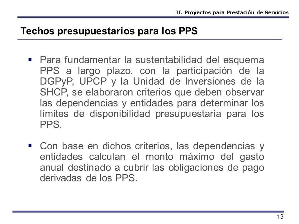 13 Techos presupuestarios para los PPS Para fundamentar la sustentabilidad del esquema PPS a largo plazo, con la participación de la DGPyP, UPCP y la