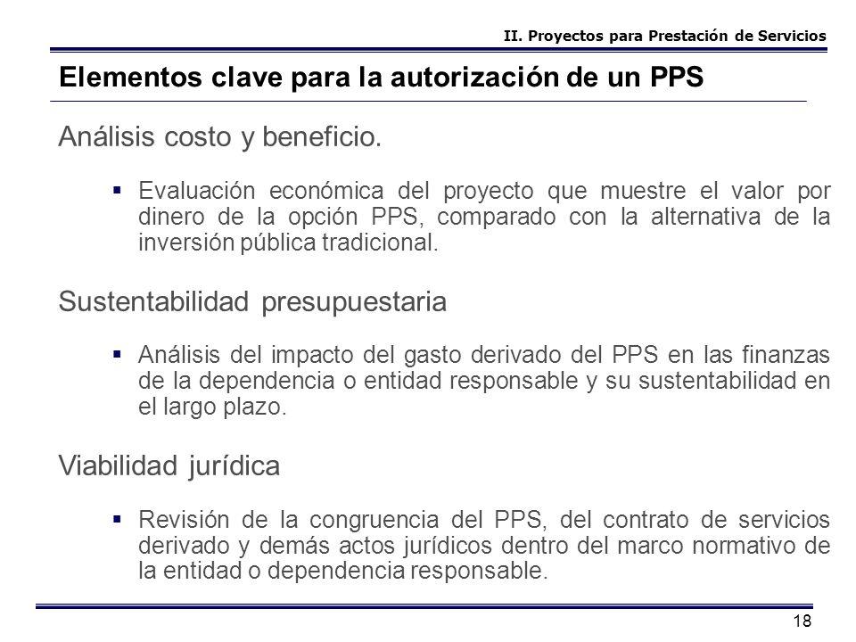 18 Elementos clave para la autorización de un PPS Análisis costo y beneficio. Evaluación económica del proyecto que muestre el valor por dinero de la