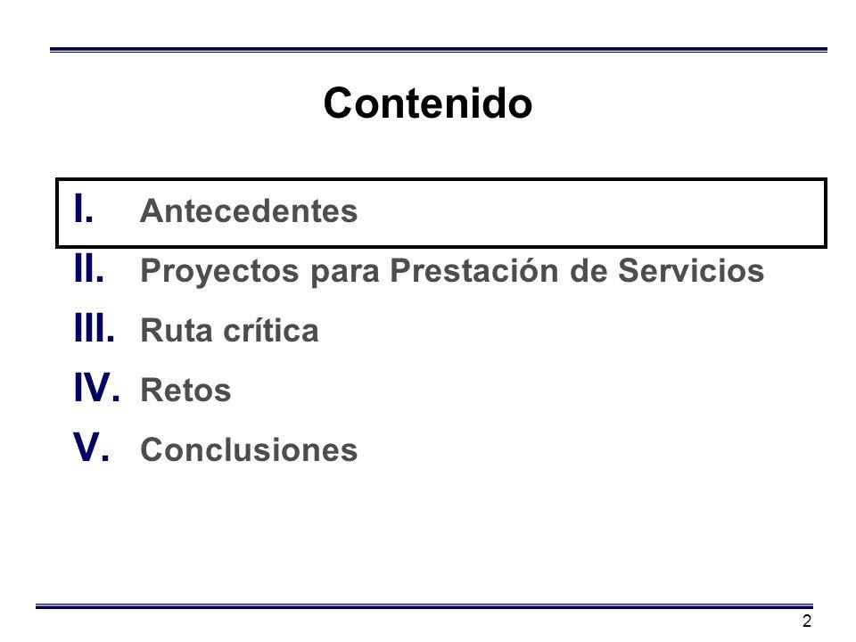 2 Contenido I. Antecedentes II. Proyectos para Prestación de Servicios III. Ruta crítica IV. Retos V. Conclusiones