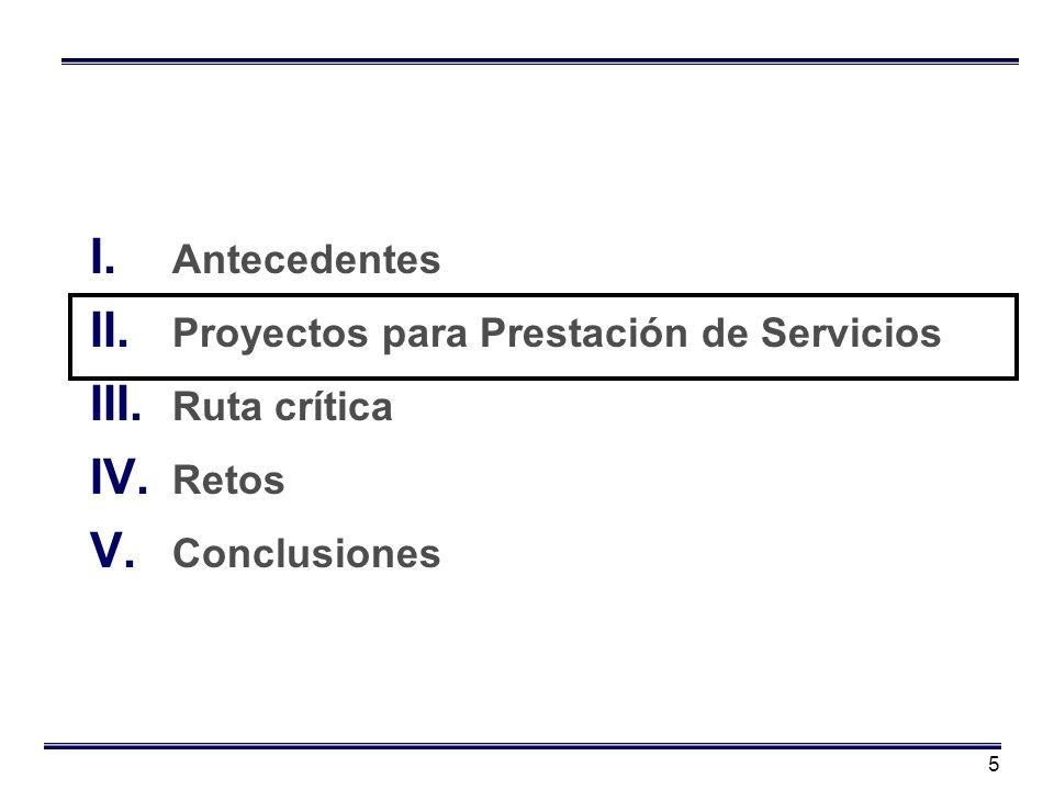 5 I. Antecedentes II. Proyectos para Prestación de Servicios III. Ruta crítica IV. Retos V. Conclusiones
