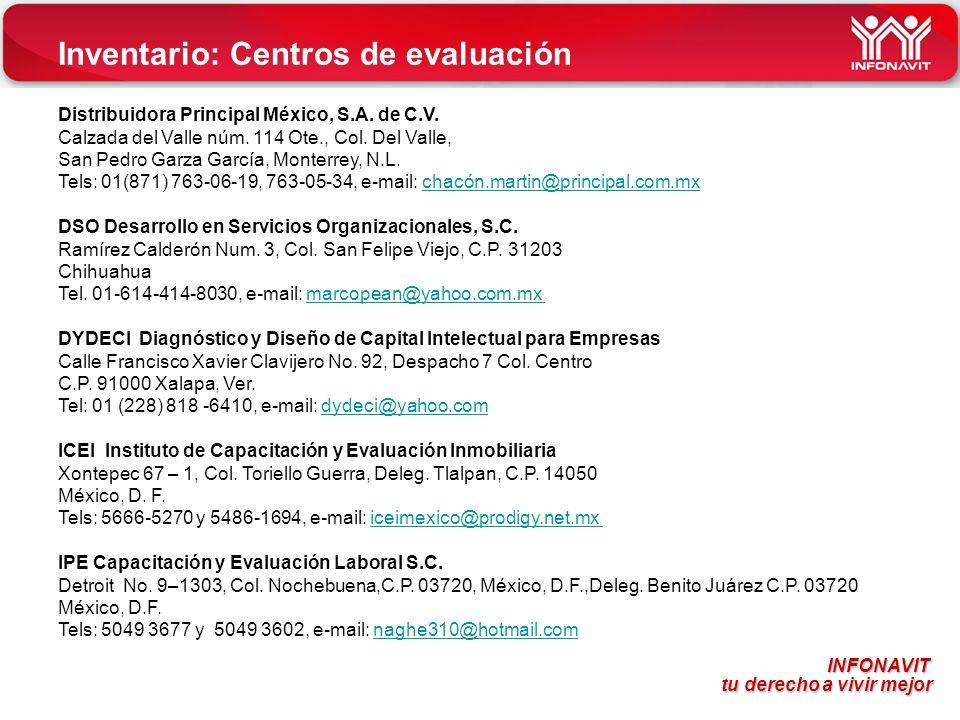 INFONAVIT tu derecho a vivir mejor tu derecho a vivir mejor Inventario: Centros de evaluación Distribuidora Principal México, S.A. de C.V. Calzada del