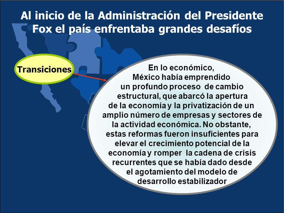 Al inicio de la Administración del Presidente Fox el país enfrentaba grandes desafíos Transiciones En lo político, la jornada electoral de julio de 2000 fue la culminación de una pacífica pero intensa lucha de los mexicanos por hacer valer el voto, la cual se extendió por varias décadas.