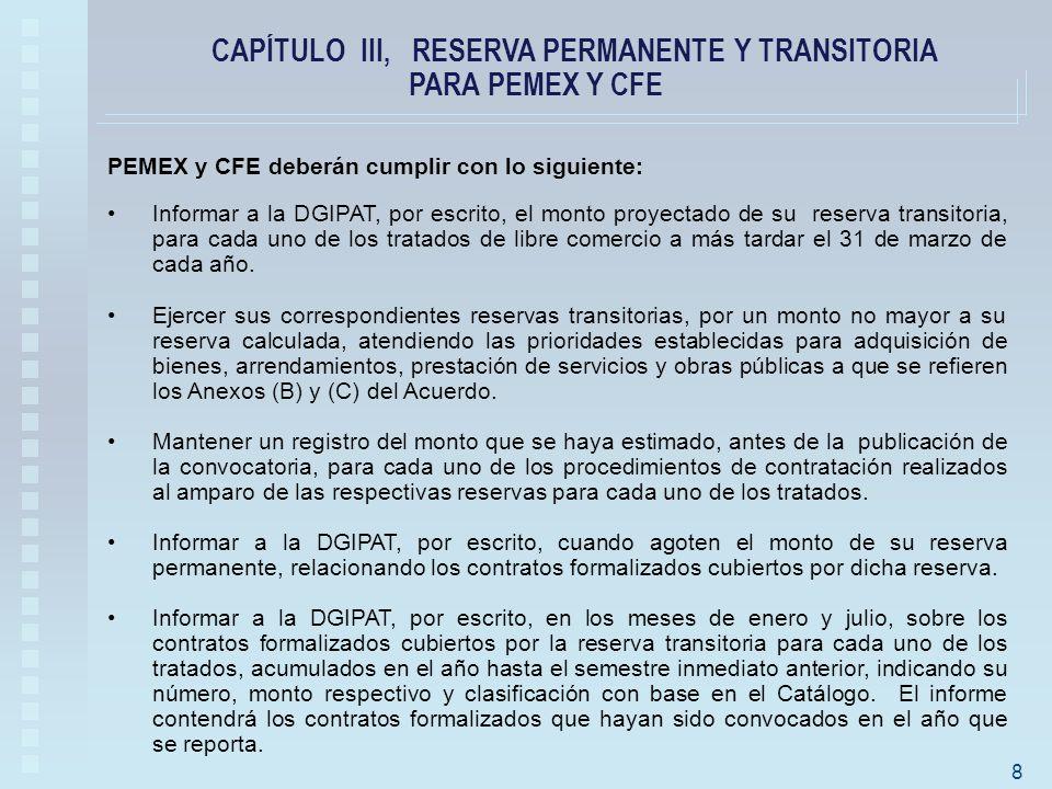 PEMEX y CFE deberán cumplir con lo siguiente: Informar a la DGIPAT, por escrito, el monto proyectado de su reserva transitoria, para cada uno de los tratados de libre comercio a más tardar el 31 de marzo de cada año.