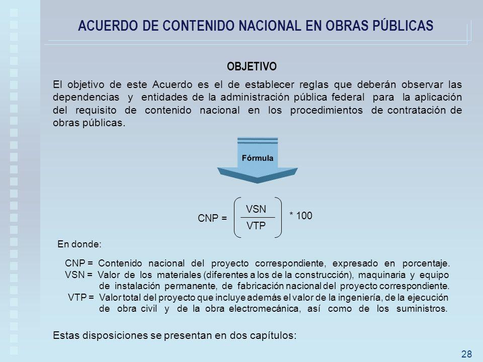 ACUERDO DE CONTENIDO NACIONAL EN OBRAS PÚBLICAS OBJETIVO Fórmula En donde: CNP = Contenido nacional del proyecto correspondiente, expresado en porcentaje.