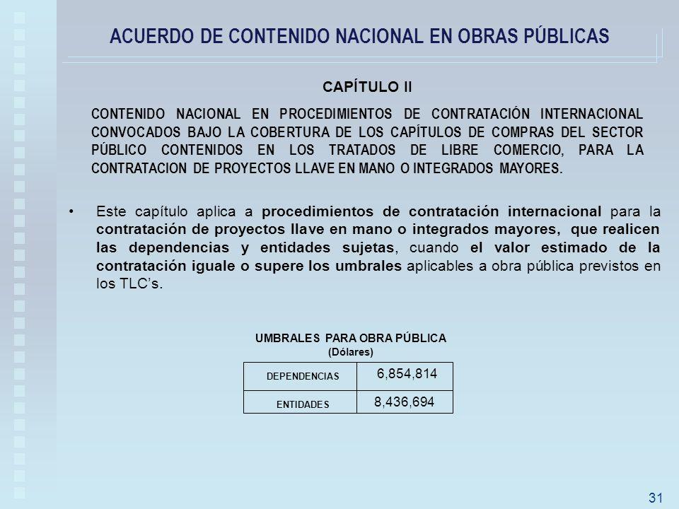 ACUERDO DE CONTENIDO NACIONAL EN OBRAS PÚBLICAS CAPÍTULO II CONTENIDO NACIONAL EN PROCEDIMIENTOS DE CONTRATACIÓN INTERNACIONAL CONVOCADOS BAJO LA COBERTURA DE LOS CAPÍTULOS DE COMPRAS DEL SECTOR PÚBLICO CONTENIDOS EN LOS TRATADOS DE LIBRE COMERCIO, PARA LA CONTRATACION DE PROYECTOS LLAVE EN MANO O INTEGRADOS MAYORES.