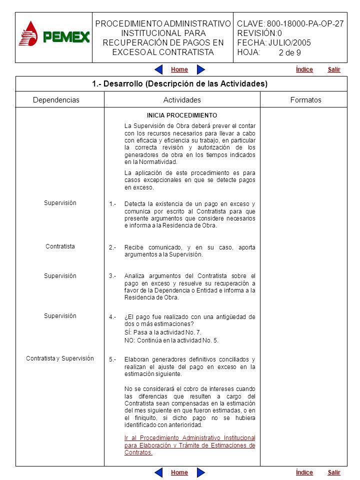 PROCEDIMIENTO ADMINISTRATIVO INSTITUCIONAL PARA RECUPERACIÓN DE PAGOS EN EXCESO AL CONTRATISTA CLAVE: 800-18000-PA-OP-27 REVISIÓN:0 FECHA: JULIO/2005 HOJA: Home Salir Índice Home Salir Índice Residencia de Obra, Área Responsable de la Ejecución de los Trabajos y Área de Finanzas Dependencias Actividades 6A.-Informa a la Residencia de Obra y al Área Responsable de la Ejecución de los Trabajos.