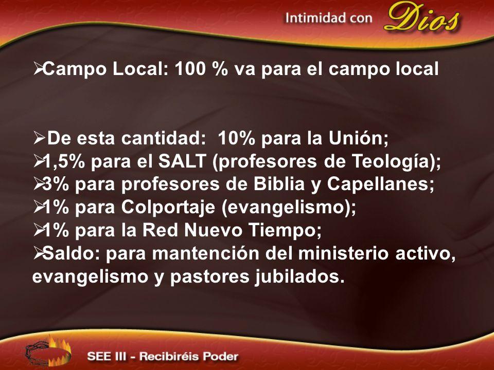Campo Local: 100 % va para el campo local De esta cantidad: 10% para la Unión; 1,5% para el SALT (profesores de Teología); 3% para profesores de Biblia y Capellanes; 1% para Colportaje (evangelismo); 1% para la Red Nuevo Tiempo; Saldo: para mantención del ministerio activo, evangelismo y pastores jubilados.