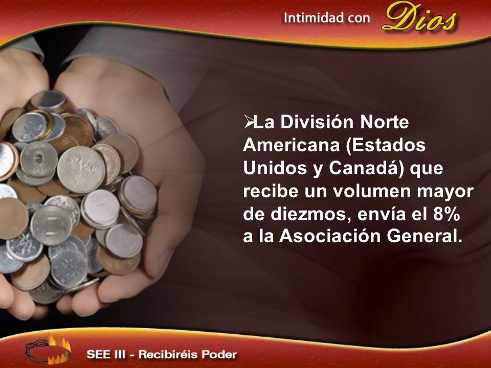 La División Norte Americana (Estados Unidos y Canadá) que recibe un volumen mayor de diezmos, envía el 8% a la Asociación General.
