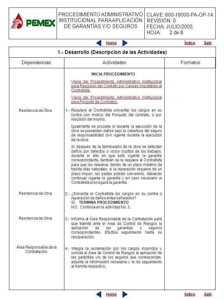 PROCEDIMIENTO ADMINISTRATIVO PARA PLANEACIÓN DE OBRAS Y SERVICIOS CLAVE: 800-18000-PA-OP-05 REVISIÓN: 0 FECHA: JULIO/2005 HOJA: CLAVE: 800-18000-PA-OP-14 REVISIÓN: 0 FECHA: JULIO/2005 HOJA: Home Salir Índice PROCEDIMIENTO ADMINISTRATIVO INSTITUCIONAL PARA APLICACIÓN DE GARANTÍAS Y/O SEGUROS Home Salir Índice FormatosDependencias INICIA PROCEDIMIENTO Viene del Procedimiento Administrativo Institucional para Rescisión del Contrato por Causas Imputables al Contratista.