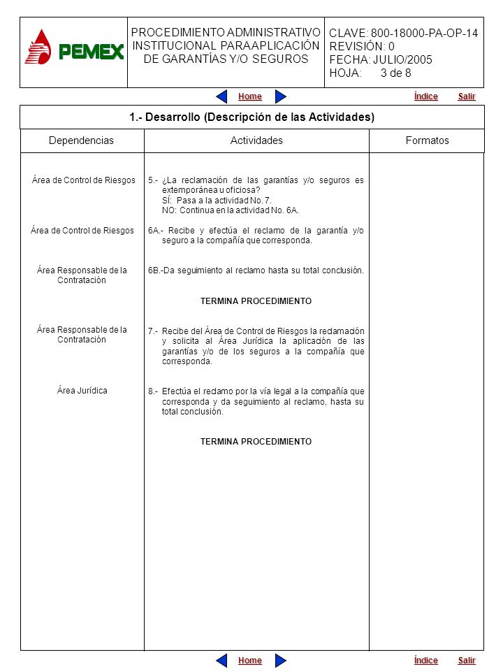 PROCEDIMIENTO ADMINISTRATIVO PARA PLANEACIÓN DE OBRAS Y SERVICIOS CLAVE: 800-18000-PA-OP-05 REVISIÓN: 0 FECHA: JULIO/2005 HOJA: CLAVE: 800-18000-PA-OP-14 REVISIÓN: 0 FECHA: JULIO/2005 HOJA: Home Salir Índice PROCEDIMIENTO ADMINISTRATIVO INSTITUCIONAL PARA APLICACIÓN DE GARANTÍAS Y/O SEGUROS Home Salir Índice Residencia de Obra Actividades Área Jurídica Inicio Área Responsable de la Contratación Área de Control de Riesgos Formatos INICIA PROCEDIMIENTO Viene del Procedimiento Administrativo Institucional para Rescisión del Contrato por Causas Imputables al Contratista.