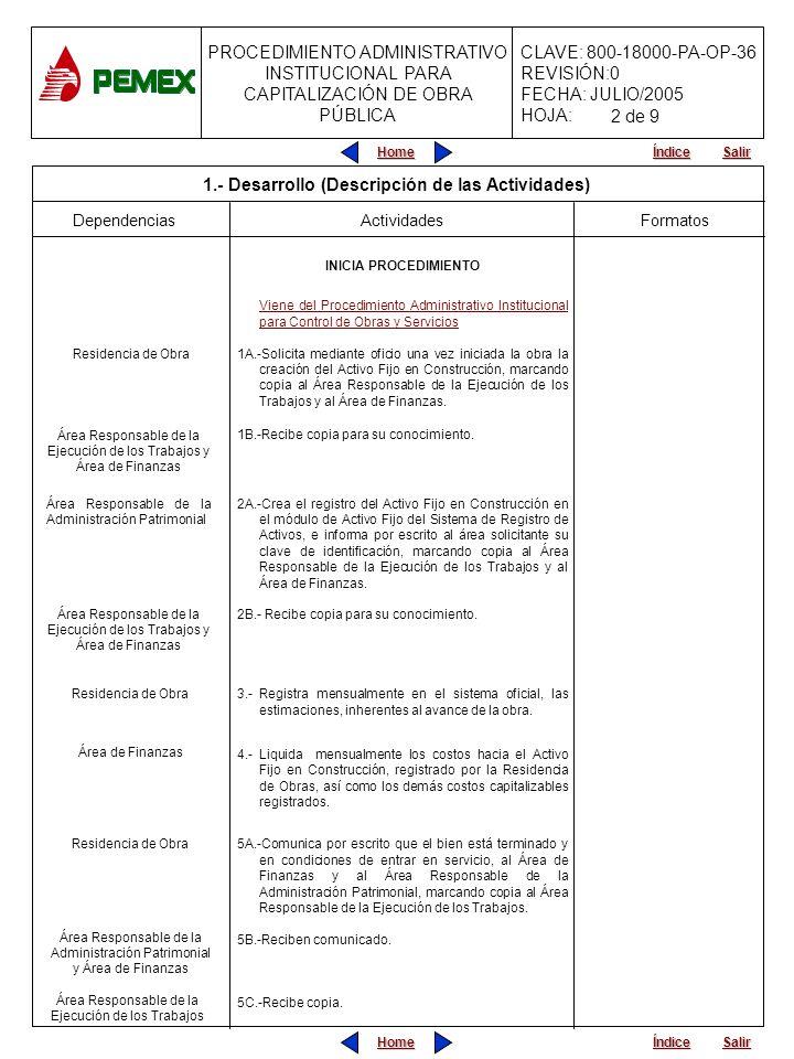 PROCEDIMIENTO ADMINISTRATIVO INSTITUCIONAL PARA CAPITALIZACIÓN DE OBRA PÚBLICA CLAVE: 800-18000-PA-OP-36 REVISIÓN:0 FECHA: JULIO/2005 HOJA: Home Salir Índice Home Salir Índice Dependencias Actividades INICIA PROCEDIMIENTO Viene del Procedimiento Administrativo Institucional para Control de Obras y Servicios 1A.-Solicita mediante oficio una vez iniciada la obra la creación del Activo Fijo en Construcción, marcando copia al Área Responsable de la Ejecución de los Trabajos y al Área de Finanzas.