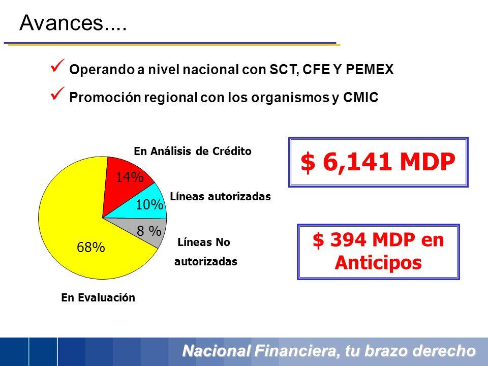 Nacional Financiera, tu brazo derecho Avances.... Operando a nivel nacional con SCT, CFE Y PEMEX Promoción regional con los organismos y CMIC 68% 14%