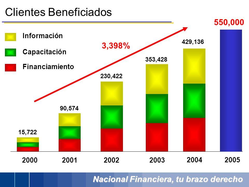 Nacional Financiera, tu brazo derecho Clientes Beneficiados Información Capacitación Financiamiento 2002 200320012000 2004 230,422 353,428 15,722 90,5