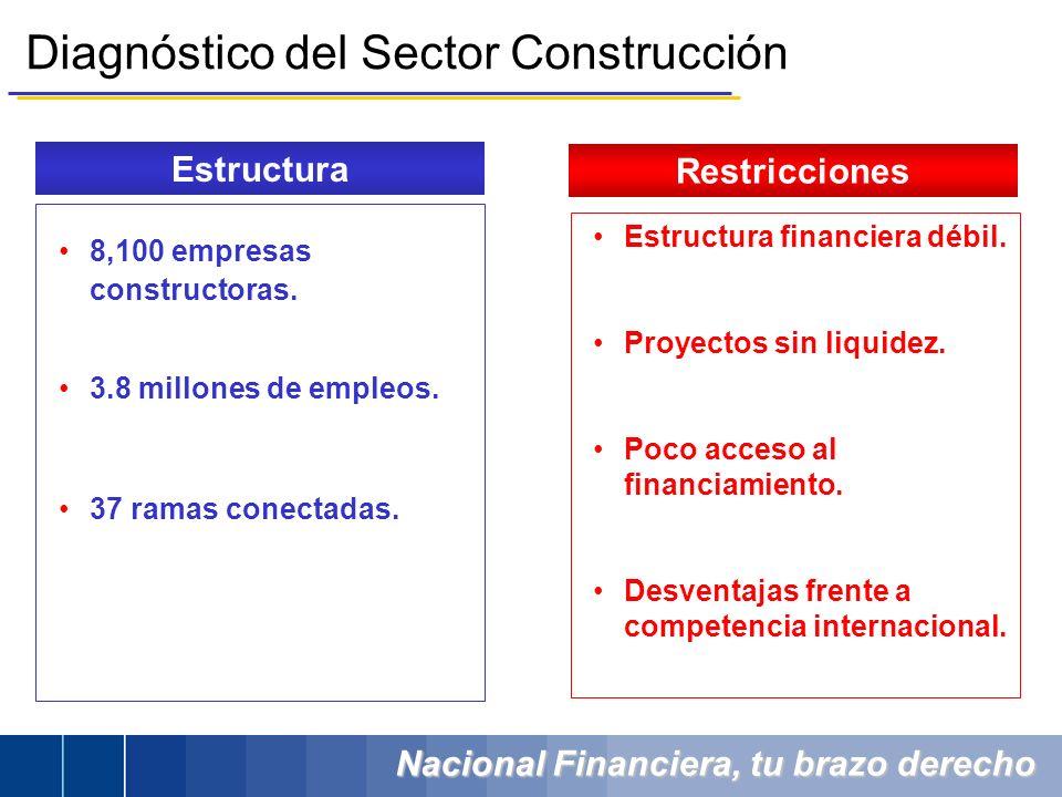 Nacional Financiera, tu brazo derecho 8,100 empresas constructoras. 3.8 millones de empleos. 37 ramas conectadas. Estructura financiera débil. Proyect