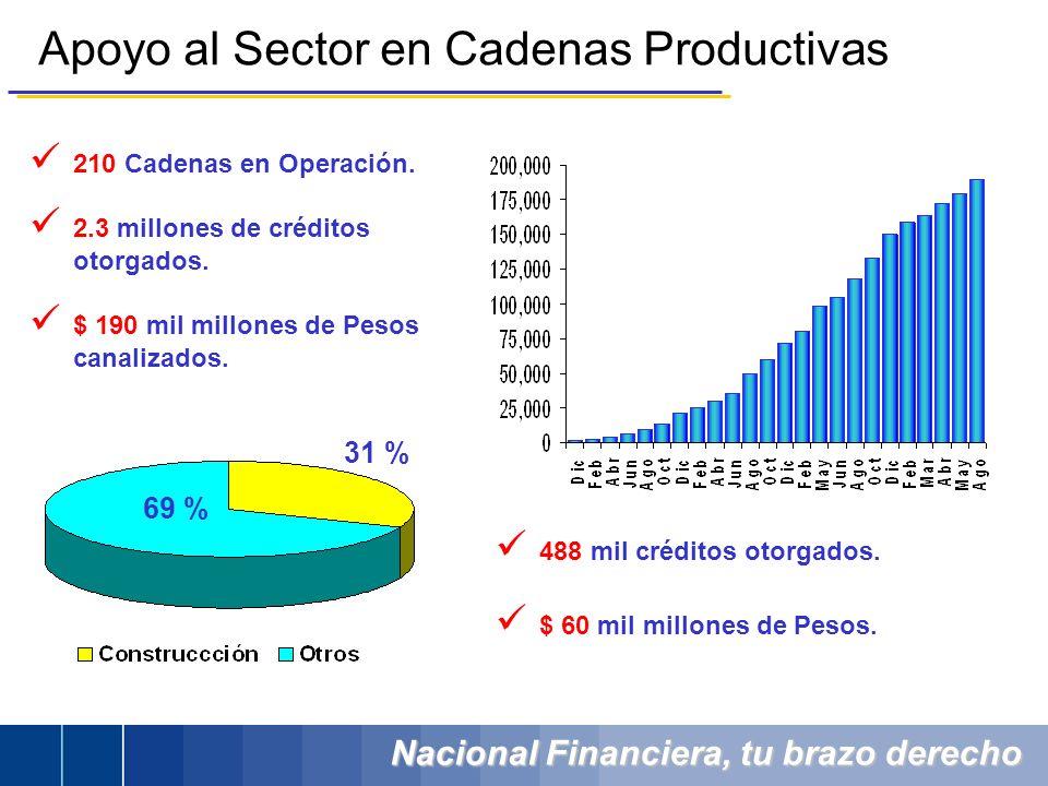 Nacional Financiera, tu brazo derecho 210 Cadenas en Operación. 2.3 millones de créditos otorgados. $ 190 mil millones de Pesos canalizados. 488 mil c