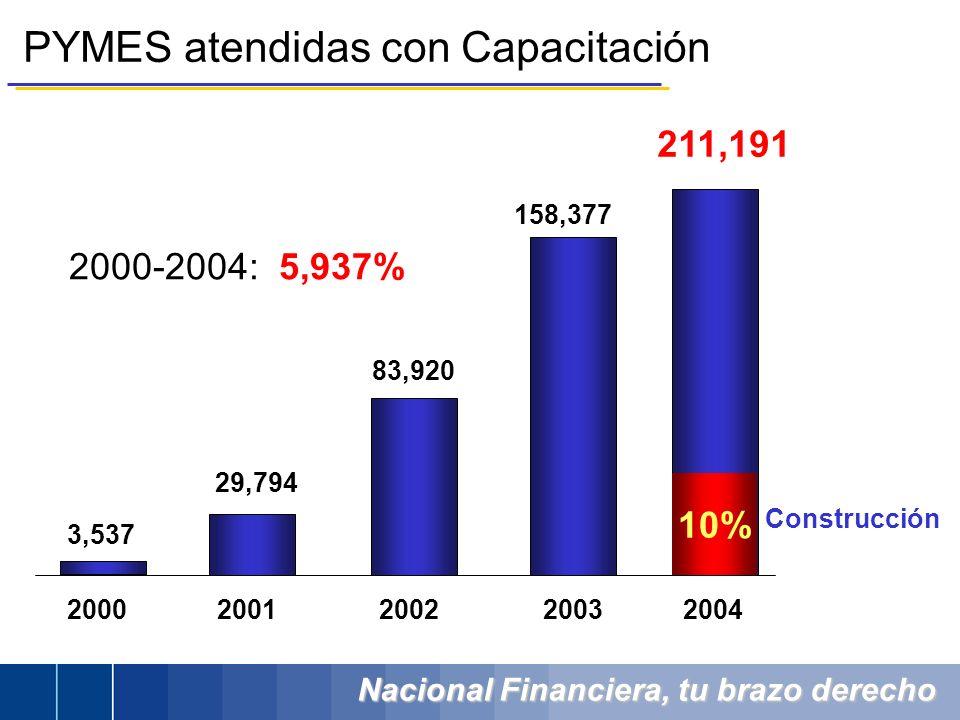 Nacional Financiera, tu brazo derecho PYMES atendidas con Capacitación 83,920 158,377 2000-2004: 5,937% 2000200120022003 29,794 3,537 2004 211,191 10%