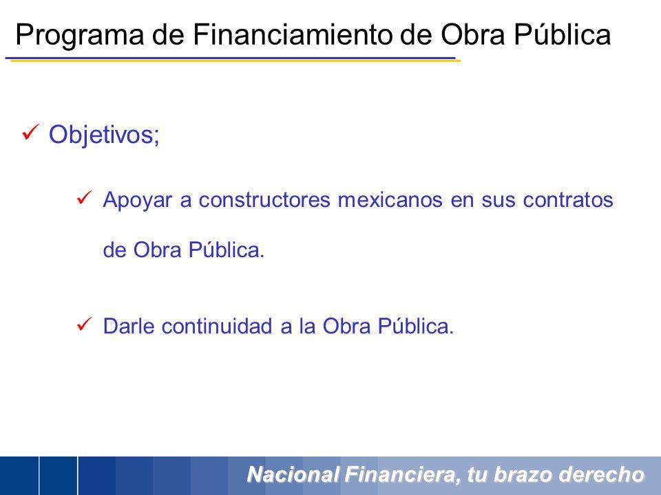 Nacional Financiera, tu brazo derecho Objetivos; Apoyar a constructores mexicanos en sus contratos de Obra Pública. Darle continuidad a la Obra Públic