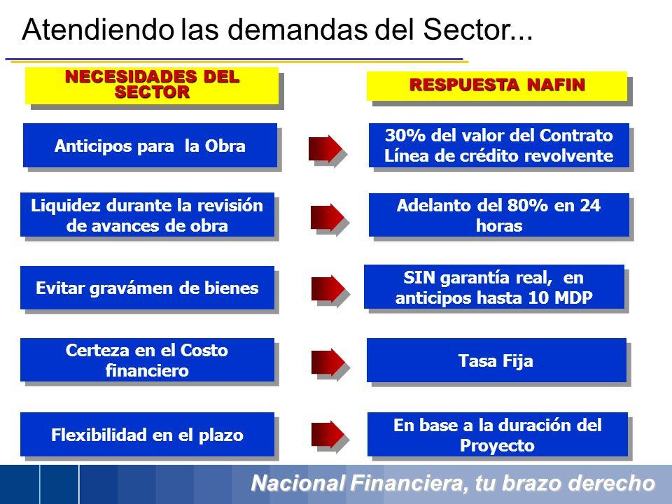 Nacional Financiera, tu brazo derecho Atendiendo las demandas del Sector... RESPUESTA NAFIN NECESIDADES DEL SECTOR Anticipos para la Obra 30% del valo