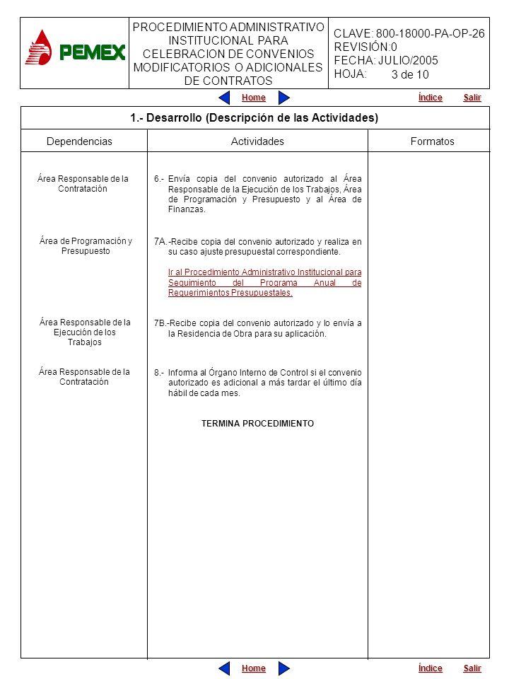 PROCEDIMIENTO ADMINISTRATIVO INSTITUCIONAL PARA CELEBRACION DE CONVENIOS MODIFICATORIOS O ADICIONALES DE CONTRATOS CLAVE: 800-18000-PA-OP-26 REVISIÓN:0 FECHA: JULIO/2005 HOJA: Home Salir Índice Home Salir Índice Formatos Dependencias Actividades 6.-Envía copia del convenio autorizado al Área Responsable de la Ejecución de los Trabajos, Área de Programación y Presupuesto y al Área de Finanzas.
