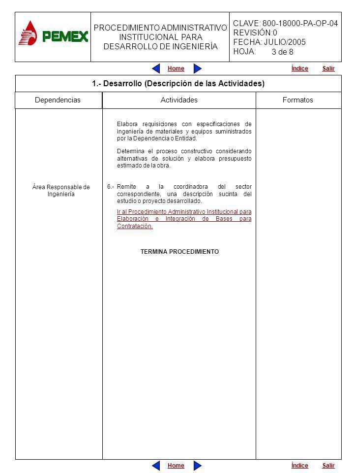 PROCEDIMIENTO ADMINISTRATIVO INSTITUCIONAL PARA DESARROLLO DE INGENIERÍA CLAVE: 800-18000-PA-OP-04 REVISIÓN:0 FECHA: JULIO/2005 HOJA: Home Salir Índice Home Salir Índice INICIA PROCEDIMIENTO Viene del Procedimiento Administrativo Institucional para el Programa Anual de Contratación.