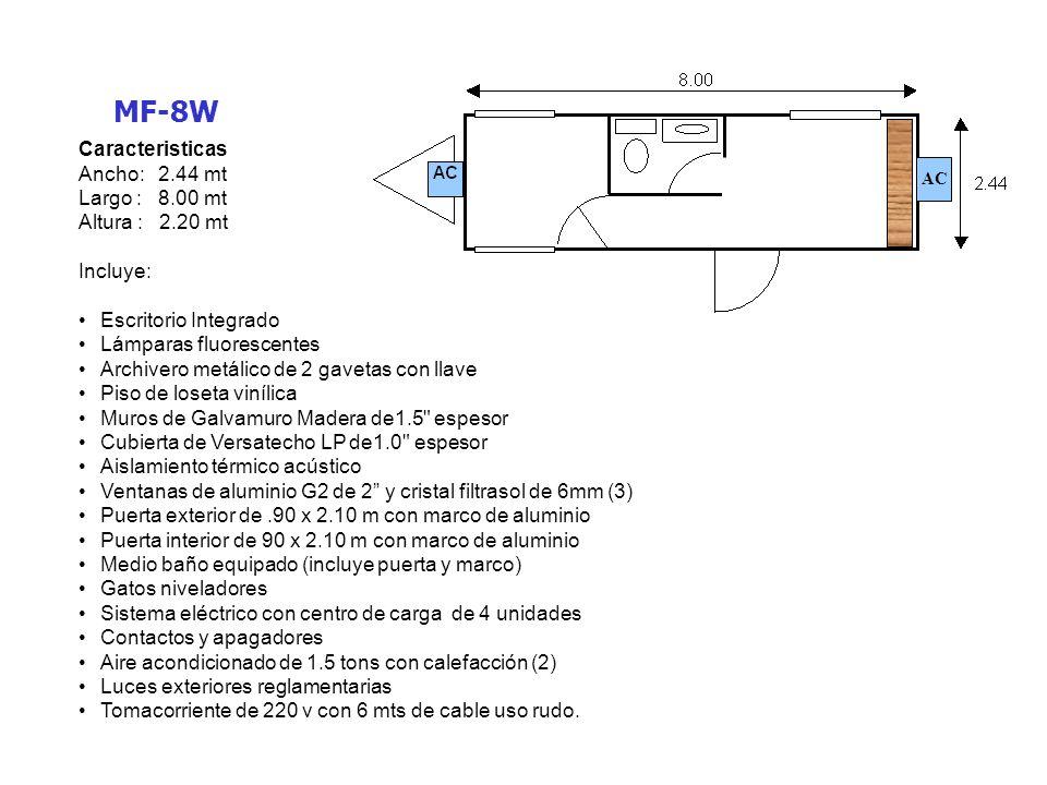 MF-12W Caracteristicas Ancho: 3.00 mt Largo : 12.00 mt Altura : 2.44- 2.50 mt Incluye: Lámparas fluorescentes Piso de loseta vinílica Muros de Galvamuro Madera de1.5 espesor Cubierta de Versatecho LP de1.0 espesor Aislamiento térmico acústico Ventanas de aluminio natural (2) Puertas exteriores de.90 x 2.10 m con marco de aluminio (2) Puertas interiores de.90 x 2.10 m con marco de aluminio (2) Medio baño equipado (incluye puerta y marco) Gatos niveladores Sistema eléctrico con centro de carga de 4 unidades Contactos y apagadores Aire acondicionado de 1.5 tons con calefacción (2) Luces exteriores reglamentarias Tomacorriente de 220 v con 6 mts de cable uso rudo.