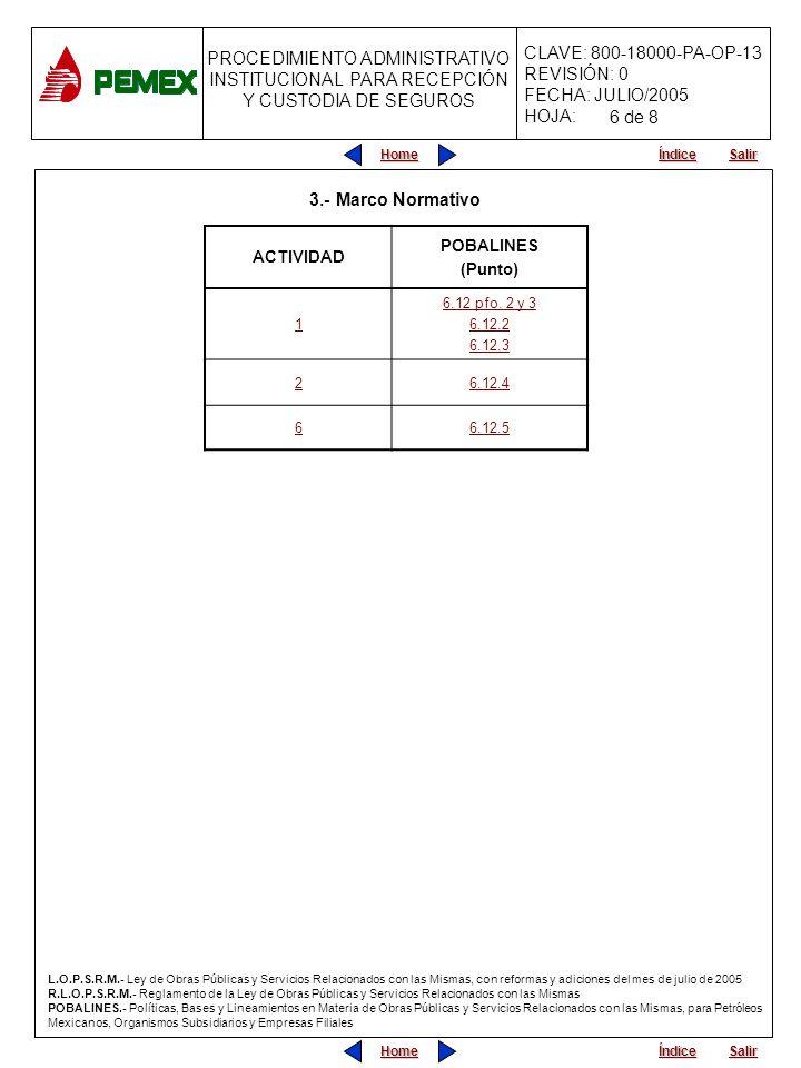 PROCEDIMIENTO ADMINISTRATIVO PARA PLANEACIÓN DE OBRAS Y SERVICIOS CLAVE: 800-18000-PA-OP-13 REVISIÓN: 0 FECHA: JULIO/2005 HOJA: PROCEDIMIENTO ADMINISTRATIVO INSTITUCIONAL PARA RECEPCIÓN Y CUSTODIA DE SEGUROS Home Salir Índice Home Salir Índice 3.- Marco Normativo ACTIVIDAD POBALINES (Punto) 1 6.12 pfo.