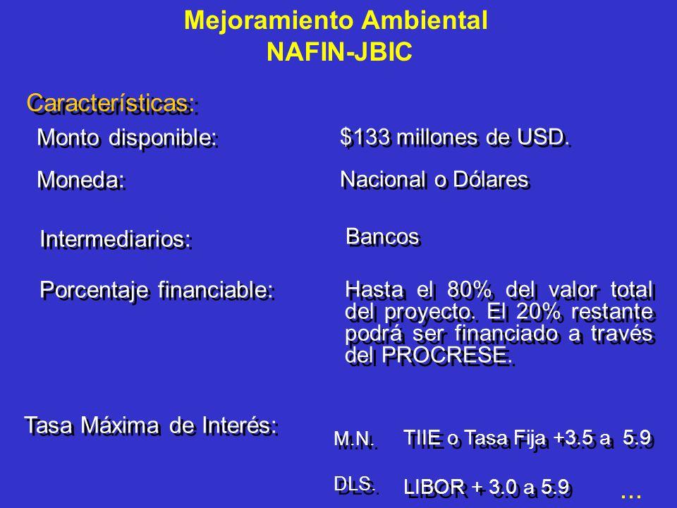 Línea de Crédito: Forma de Pago: En Dólares: trimestral En Pesos: mensual En Dólares: trimestral En Pesos: mensual Retroactividad: Financiamiento e inversiones a partir del 10 de septiembre de 1998.