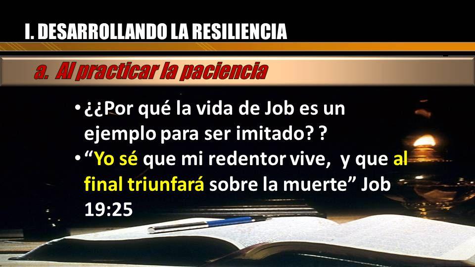 I. DESARROLLANDO LA RESILIENCIA ¿¿Por qué la vida de Job es un ejemplo para ser imitado? ? ¿¿Por qué la vida de Job es un ejemplo para ser imitado? ?