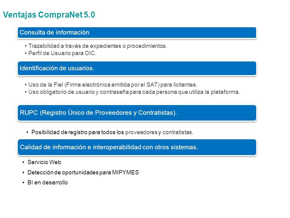 ü Procedimientos de contratación registrados en CompraNet 3.0 Los procedimientos de contratación iniciados en Compranet 3.0 serán concluidos en esa misma versión, ya que ésta posteriormente pasará a ser sólo un repositorio de consulta.