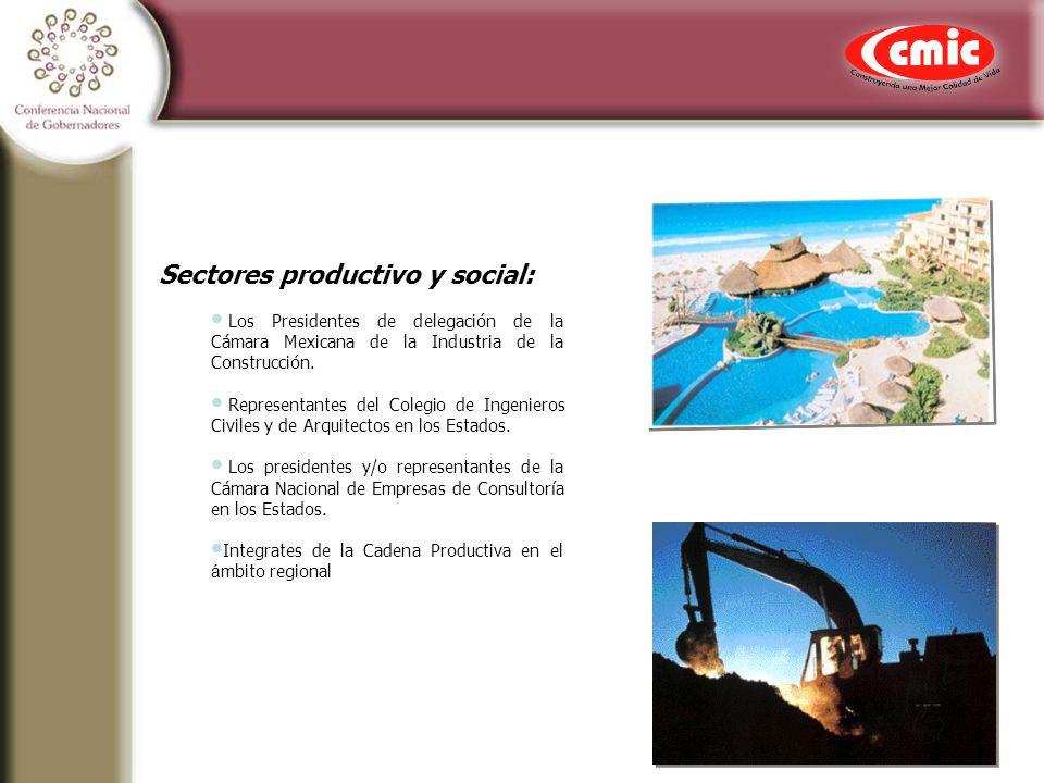 Sectores productivo y social: Los Presidentes de delegación de la Cámara Mexicana de la Industria de la Construcción.