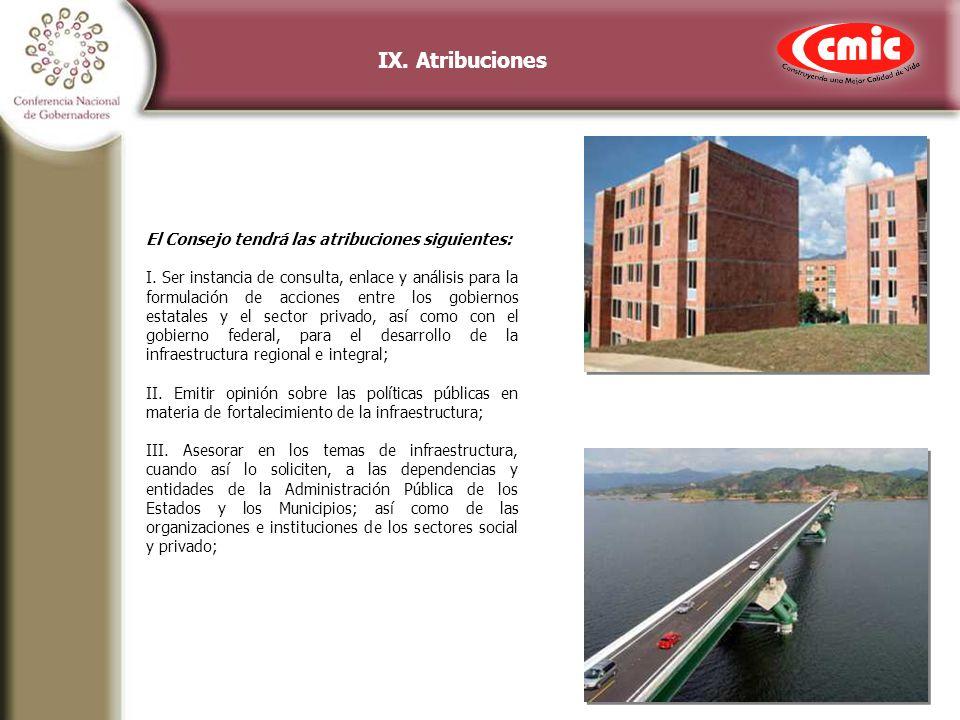 IX. Atribuciones El Consejo tendrá las atribuciones siguientes: I.