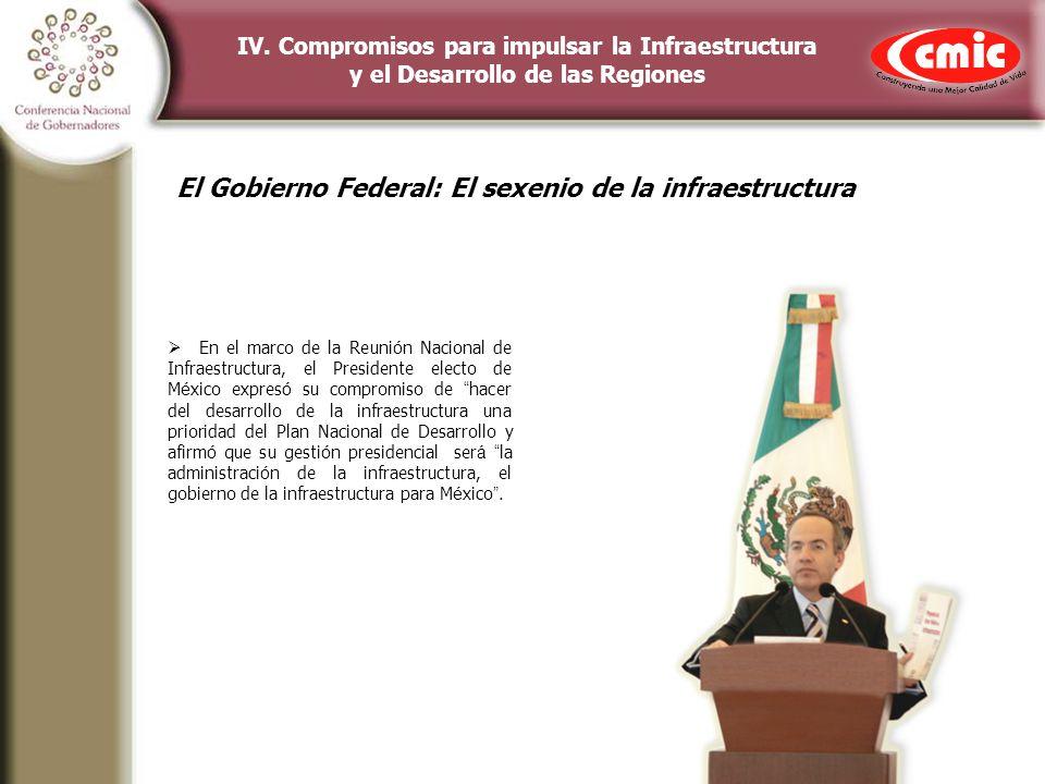 IV. Compromisos para impulsar la Infraestructura y el Desarrollo de las Regiones En el marco de la Reuni ó n Nacional de Infraestructura, el President