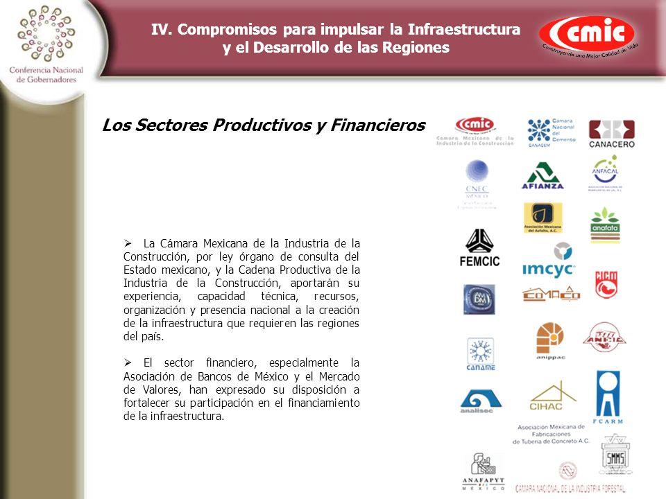 IV. Compromisos para impulsar la Infraestructura y el Desarrollo de las Regiones La C á mara Mexicana de la Industria de la Construcci ó n, por ley ó
