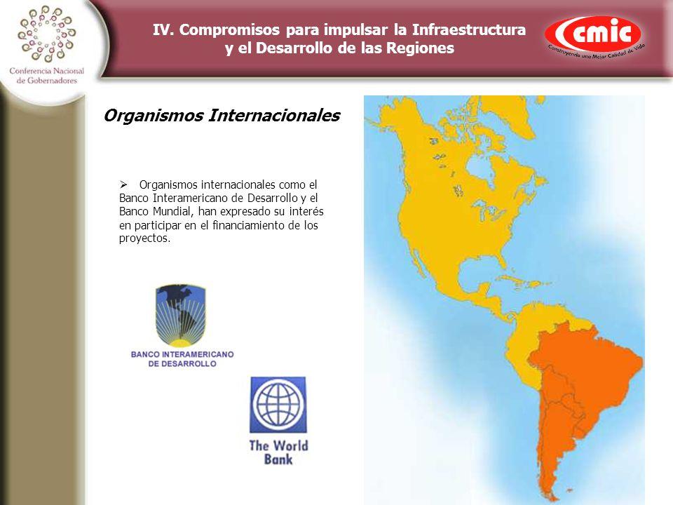 IV. Compromisos para impulsar la Infraestructura y el Desarrollo de las Regiones Organismos internacionales como el Banco Interamericano de Desarrollo