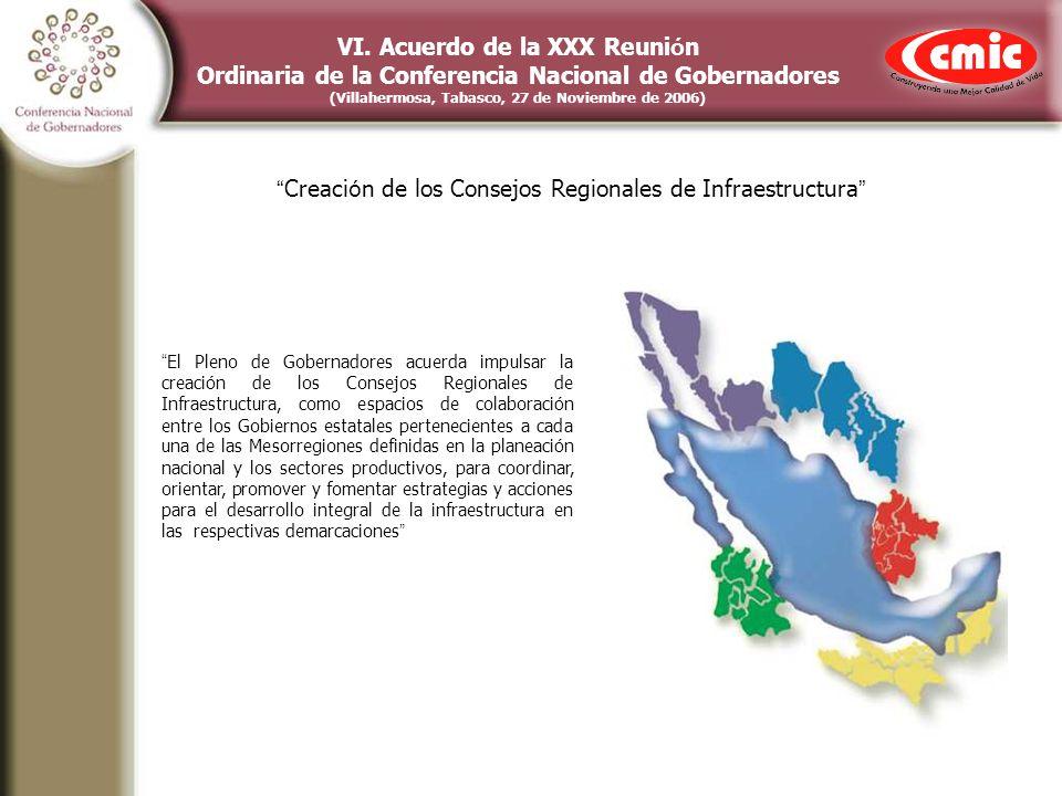 VI. Acuerdo de la XXX Reuni ó n Ordinaria de la Conferencia Nacional de Gobernadores (Villahermosa, Tabasco, 27 de Noviembre de 2006) Creaci ó n de lo