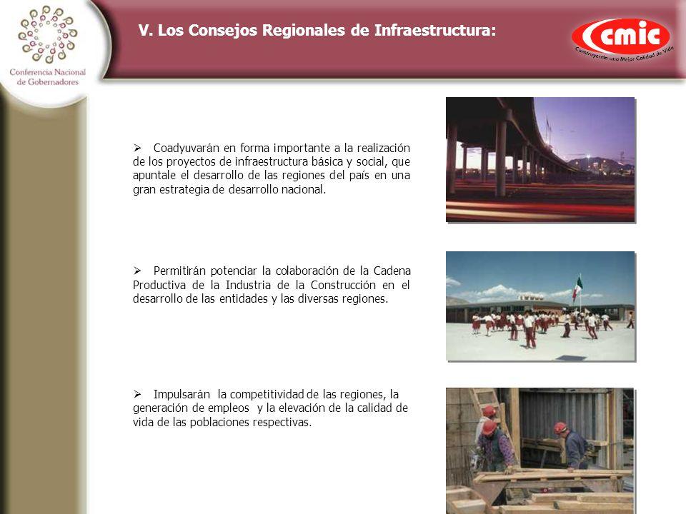 V. Los Consejos Regionales de Infraestructura: Coadyuvar á n en forma importante a la realizaci ó n de los proyectos de infraestructura b á sica y soc