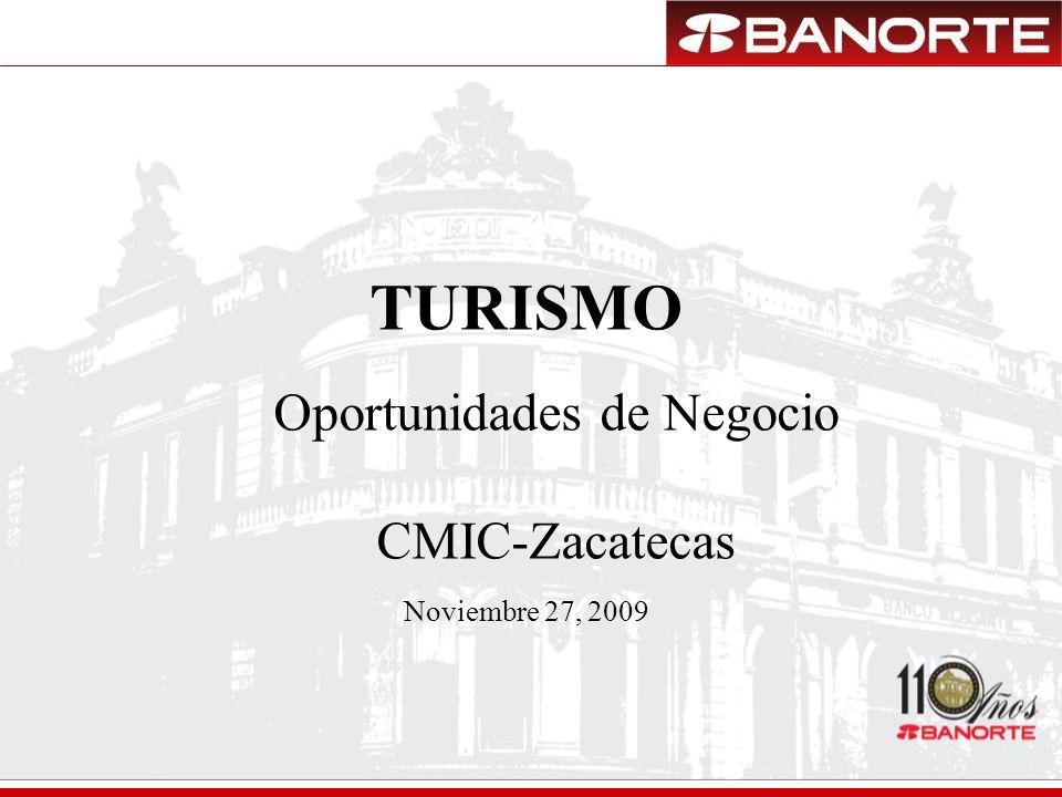 TURISMO Noviembre 27, 2009 Oportunidades de Negocio CMIC-Zacatecas