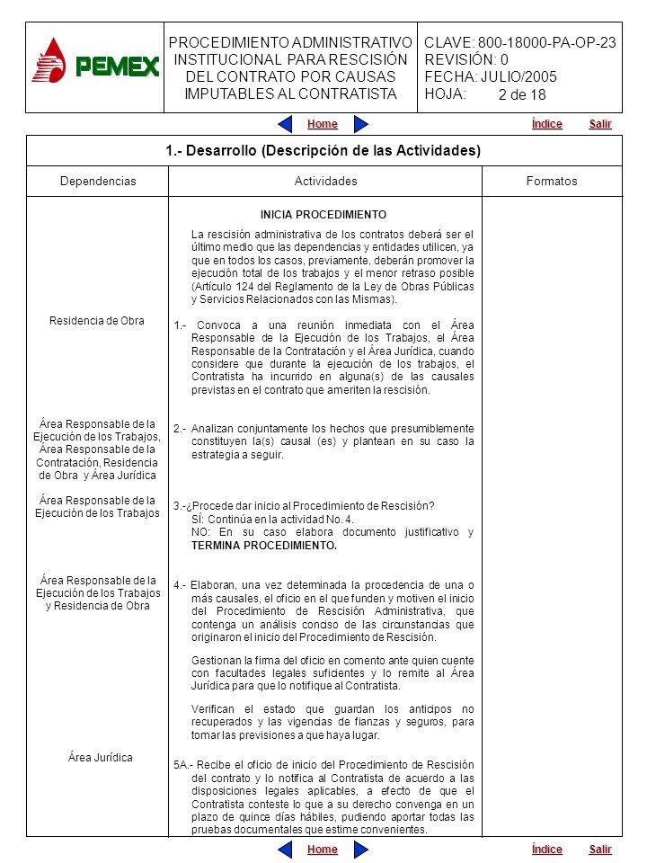 PROCEDIMIENTO ADMINISTRATIVO INSTITUCIONAL PARA RESCISIÓN DEL CONTRATO POR CAUSAS IMPUTABLES AL CONTRATISTA CLAVE: 800-18000-PA-OP-23 REVISIÓN: 0 FECHA: JULIO/2005 HOJA: Home Salir Índice Home Salir Índice Formatos Dependencias Actividades INICIA PROCEDIMIENTO La rescisión administrativa de los contratos deberá ser el último medio que las dependencias y entidades utilicen, ya que en todos los casos, previamente, deberán promover la ejecución total de los trabajos y el menor retraso posible (Artículo 124 del Reglamento de la Ley de Obras Públicas y Servicios Relacionados con las Mismas).