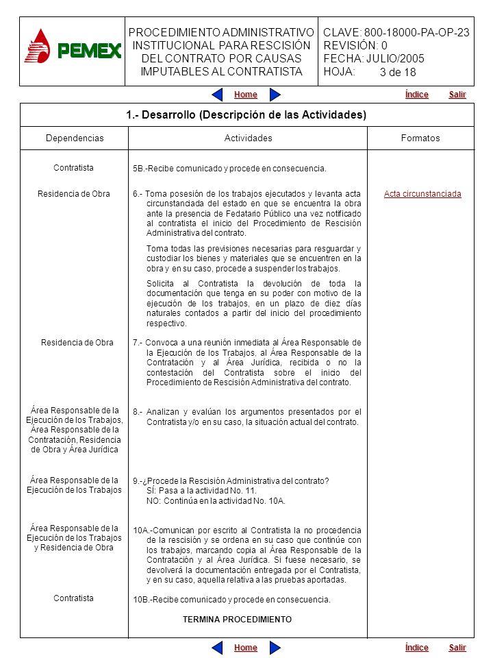PROCEDIMIENTO ADMINISTRATIVO INSTITUCIONAL PARA RESCISIÓN DEL CONTRATO POR CAUSAS IMPUTABLES AL CONTRATISTA CLAVE: 800-18000-PA-OP-23 REVISIÓN: 0 FECHA: JULIO/2005 HOJA: Home Salir Índice Home Salir Índice APARTADO C) ANTICIPOS DE CONFORMIDAD CON LA CLÁUSULA _____ DEL CONTRATO, SE OTORGARON LOS SIGUIENTES CONCEPTOS: ANTICIPOS CONCEPTOPORCENTAJEFECHA DE ENTREGA TIPO DE MONEDA M.N.USD TOTAL DE ANTICIPO OTORGADO AMORTIZACIONES ESTIMACIÓN N°PERIODO IMPORTE AMORTIZADO M.N.USD TOTAL AMORTIZADO SALDO POR AMORTIZAR APARTADO D) MODIFICACIONES LAS OBLIGACIONES Y DERECHOS PACTADAS, EN EL CONTRATO, HAN SIDO MODIFICADAS CONFORME A LOS ALCANCES JURÍDICOS DE LOS CONVENIOS QUE SE RELACIONAN: N° DE CONVENIOMODALIDADDESCRIPCIÓN DEL CAMBIO (Concepto de especialidad) APARTADO E) AJUSTE DE COSTOS DURANTE LA VIGENCIA DEL CONTRATO FUERON AUTORIZADOS LOS SIGUIENTES AJUSTES DE COSTOS: AJUSTE N°ANEXO OFICIO CONCEPTO N°FECHA APARTADO F) MONTOS EJERCIDOS EL MONTO REAL DEL CONTRATO HA SIDO POR LA CANTIDAD QUE SE INDICA, CONFORME A LA RELACIÓN DE ESTIMACIONES APROBADAS Y PAGADAS POR PEMEX, DE LA SIGUIENTE MANERA: ACTA CIRCUNSTANCIADA No.