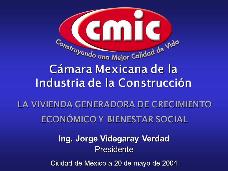LA VIVIENDA GENERADORA DE CRECIMIENTO ECONÓMICO Y BIENESTAR SOCIAL Ciudad de México a 20 de mayo de 2004 Ing. Jorge Videgaray Verdad Presidente Cámara