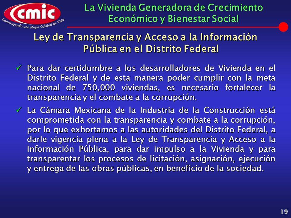 La Vivienda Generadora de Crecimiento Económico y Bienestar Social 19 Ley de Transparencia y Acceso a la Información Pública en el Distrito Federal Pa