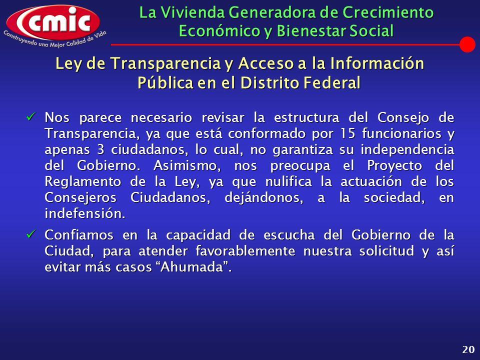 La Vivienda Generadora de Crecimiento Económico y Bienestar Social 20 Ley de Transparencia y Acceso a la Información Pública en el Distrito Federal No