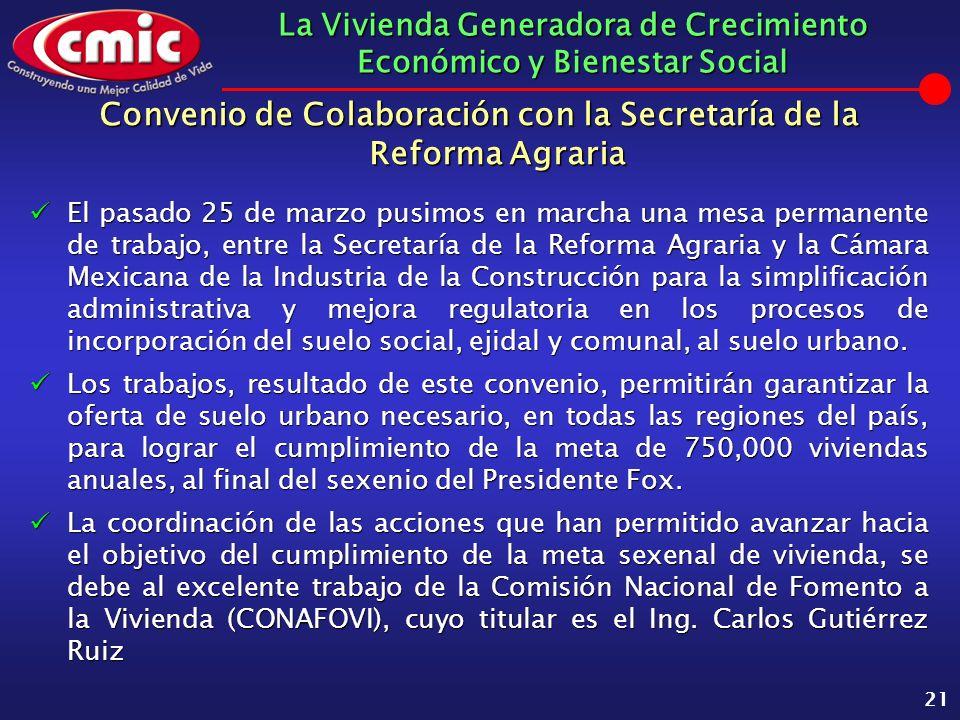 La Vivienda Generadora de Crecimiento Económico y Bienestar Social 21 Convenio de Colaboración con la Secretaría de la Reforma Agraria El pasado 25 de
