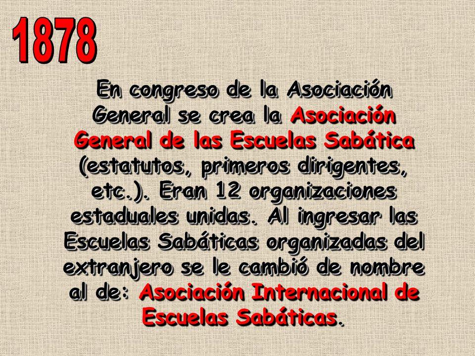 En congreso de la Asociación General se crea la Asociación General de las Escuelas Sabática (estatutos, primeros dirigentes, etc.). Eran 12 organizaci