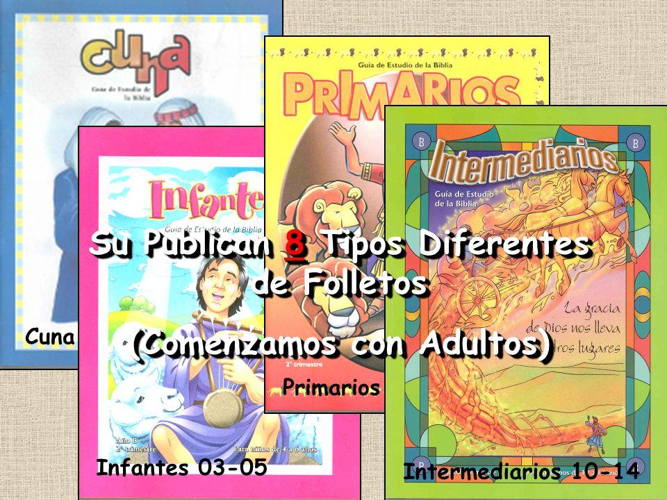 Cuna - 02 Infantes 03-05 Primarios 06- 09 Intermediarios 10-14 Su Publican 8 Tipos Diferentes de Folletos (Comenzamos con Adultos) Su Publican 8 Tipos