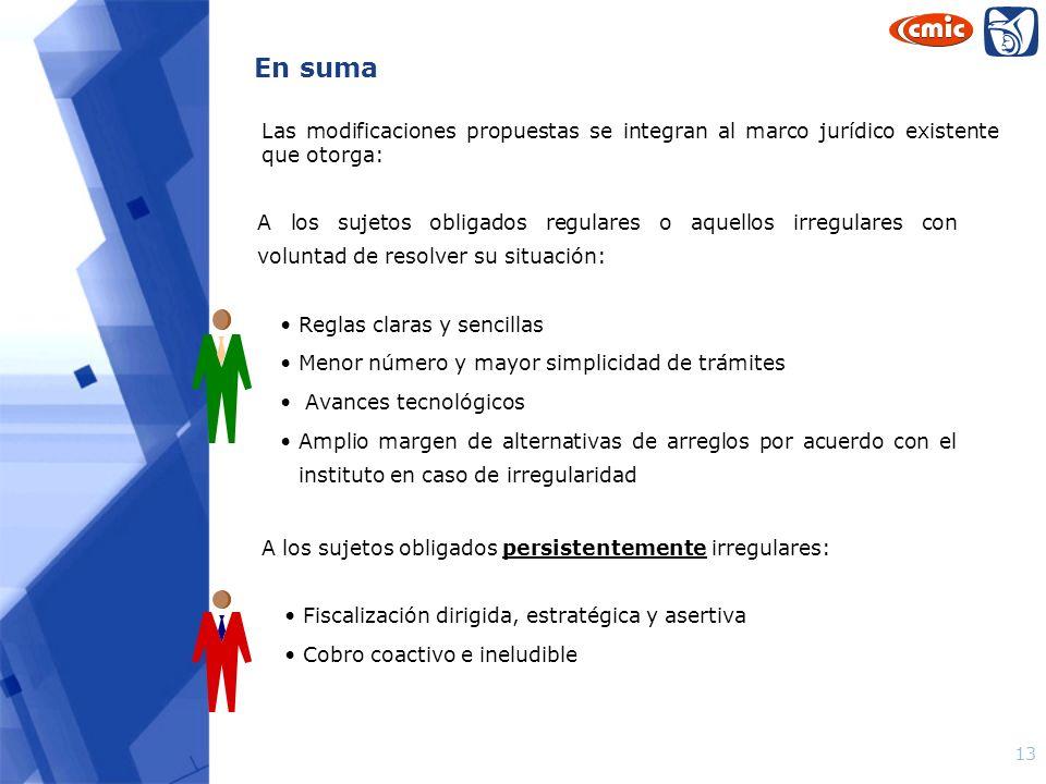 13 Las modificaciones propuestas se integran al marco jurídico existente que otorga: A los sujetos obligados regulares o aquellos irregulares con volu