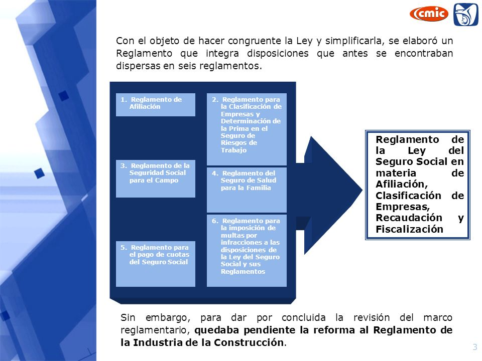 3 Reglamento de la Ley del Seguro Social en materia de Afiliación, Clasificación de Empresas, Recaudación y Fiscalización Con el objeto de hacer congr