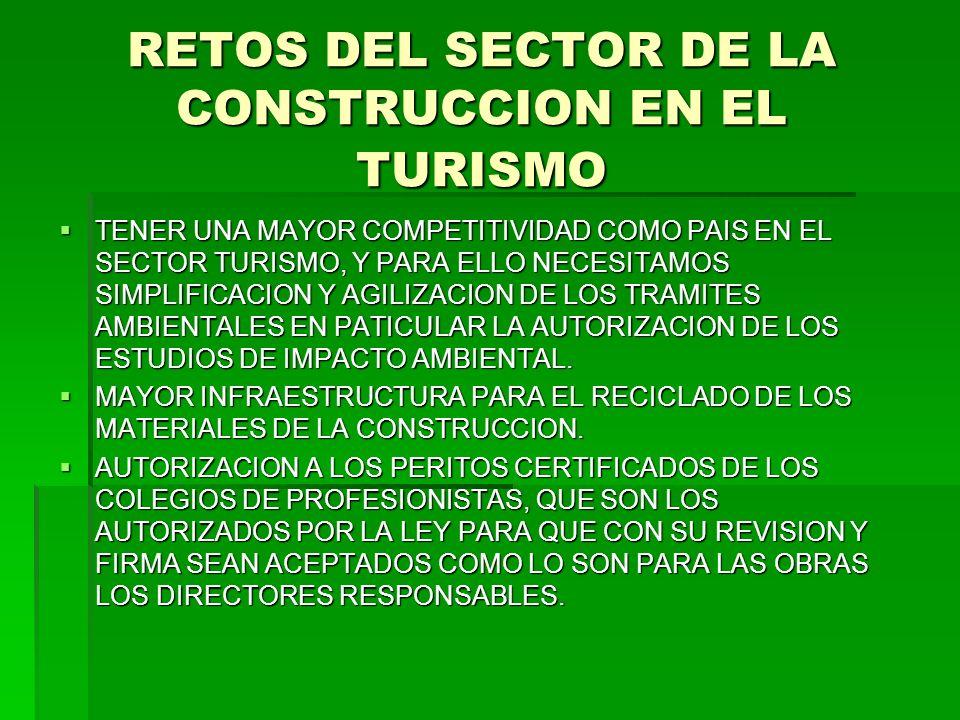 RETOS DEL SECTOR DE LA CONSTRUCCION EN EL TURISMO TENER UNA MAYOR COMPETITIVIDAD COMO PAIS EN EL SECTOR TURISMO, Y PARA ELLO NECESITAMOS SIMPLIFICACIO