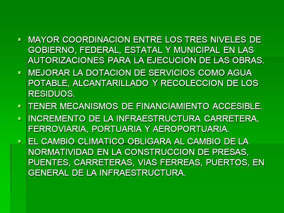 MAYOR COORDINACION ENTRE LOS TRES NIVELES DE GOBIERNO, FEDERAL, ESTATAL Y MUNICIPAL EN LAS AUTORIZACIONES PARA LA EJECUCION DE LAS OBRAS. MAYOR COORDI
