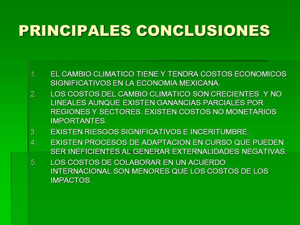PRINCIPALES CONCLUSIONES 1.EL CAMBIO CLIMATICO TIENE Y TENDRA COSTOS ECONOMICOS SIGNIFICATIVOS EN LA ECONOMIA MEXICANA. 2.LOS COSTOS DEL CAMBIO CLIMAT
